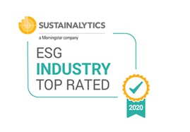Logo of Sustainalytics' 2020 ESG Industry Top Rated Award
